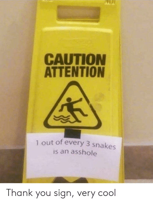 very cool: CAUTION  ATTENTION  1 out of every 3 snakes  is an asshole Thank you sign, very cool
