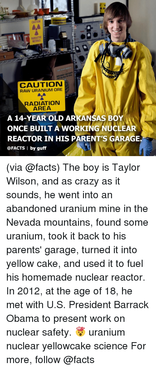 Crazy, Facts, and Memes: CAUTION  CAUTION  RAW URANIUM ORE  RADIATION  AREA  A 14-YEAR OLD ARKANSAS BOY  ONCE BUILT A WORKING NUCLEAR  REACTOR IN HIS PARENT'S GARAGE.  @FACTS | by guff (via @facts) The boy is Taylor Wilson, and as crazy as it sounds, he went into an abandoned uranium mine in the Nevada mountains, found some uranium, took it back to his parents' garage, turned it into yellow cake, and used it to fuel his homemade nuclear reactor. In 2012, at the age of 18, he met with U.S. President Barrack Obama to present work on nuclear safety. 🤯 uranium nuclear yellowcake science For more, follow @facts