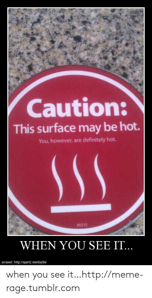 meme: Caution:  This surface may be hot.  You, however, are definitely hot.  #6515  WHEN YOU SEE IT...  answer: http://spartz.me/dia/9sl when you see it…http://meme-rage.tumblr.com