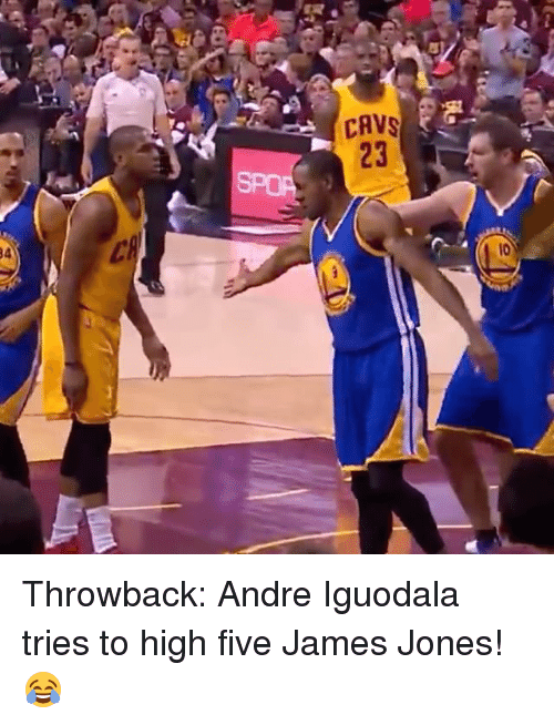 cav: CAV  23  34  l0 Throwback: Andre Iguodala tries to high five James Jones! 😂