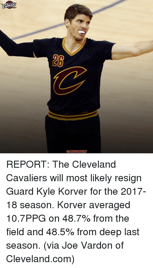 Resigne: @CAVS CONTENT REPORT: The Cleveland Cavaliers will most likely resign Guard Kyle Korver for the 2017-18 season. Korver averaged 10.7PPG on 48.7% from the field and 48.5% from deep last season. (via Joe Vardon of Cleveland.com)