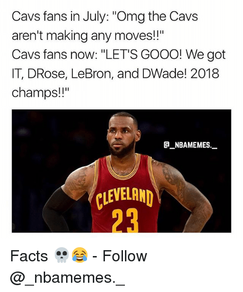 "Cavs, Facts, and Gooo: Cavs fans in July: ""Omg the Cavs  aren't making any moves!!""  Cavs fans now: ""LET'S GOOO! We got  IT, DRose, LeBron, and DWade! 2018  champs!!""  @_ABAMEMEs.一  LEVELAND  23 Facts 💀😂 - Follow @_nbamemes._"