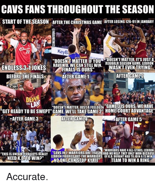 "Basketball, Cavs, and Christmas: CAVS FANS THROUGHOUT THE SEASON  START OFTHELSEASON ATER THE CHRISTMAS GAME ATER LOSING 126-91INJANUARY  KeyB  DOESNT MATTER, ITS JUST A  ""DOESNTT MATTER IF YOU  REGUALR SEASON GAME. LEBRON  HAVE KID WE CAN STILL WIN  ENDLESSL3-1 JOKES  WASNT EVEN TRYING  FINALS IS OURS""  BEFORE THE FINALS  AFTER GAME 1  AFTER GAME 2  THE  ""DOESNTMATTER JUST FEELOUT ""GAME IS OURS. WEHAVE  ""GET READY TO BE SWEPT"" GAME. WELL TAKE GAME 2 HOME COURT ADVANTAGE  AFTER GAME 3 AFTER GAME  AFTER GAME 5  CAVE  HWARRIORS HAVE 4 ALL-STARS. LEBRON  ""THIS IS UNFAIR YOU Guys REALLY CAMBINAMARRIORSAREHASHIHADINOHELPTHEd ONLYWONBECAUSE  LEBRONFIGUREDOUT THE WARRIORS OFK.D.DURANTHAD TOJOINA 13 WIN  NEED K.D TO WIN?""  SNO ONE CANSTOPKYRIE  TEAM TO WIN A RING Accurate."
