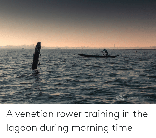 Venetian: CB  CHRISBAUMGARTNER.AT A venetian rower training in the lagoon during morning time.