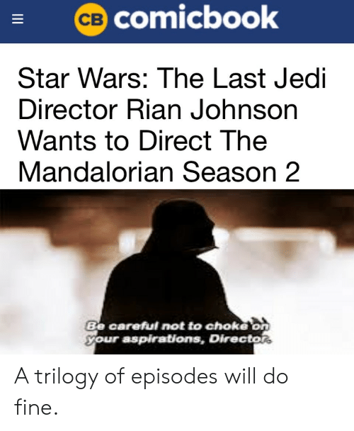 Be Careful Not To Choke On Your Aspirations: CB Comicbook  Star Wars: The Last Jedi  Director Rian Johnson  Wants to Direct The  Mandalorian Season 2  Be careful not to choke on  your aspirations, Director  II A trilogy of episodes will do fine.