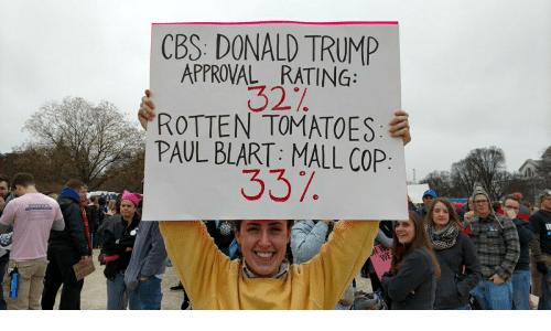 Trump Approval Rating: CBS DONALD TRUMP  APPROVAL RATING:  32  ,ROTTEN TOMATOES:  PAUL BLART: MALL COP  337