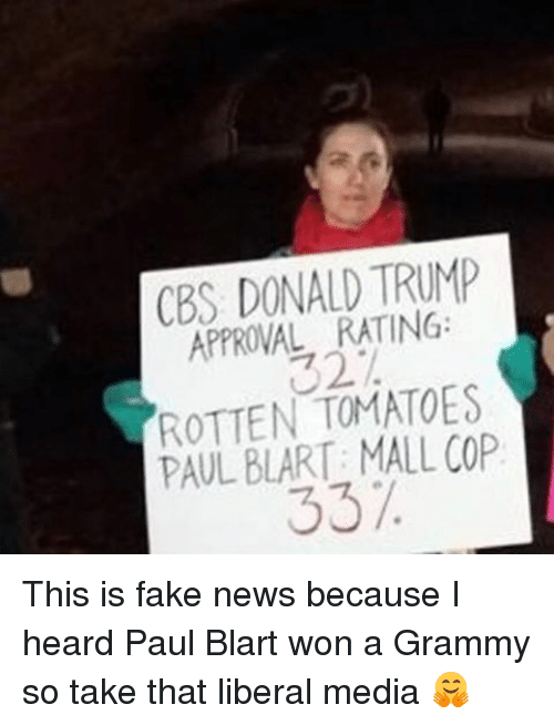Trump Approval Rating: CBS DONALD TRUMP  APPROVAL RATING:  ROTTEN TOMATOES  PAUL BLART: MALL COP  337. This is fake news because I heard Paul Blart won a Grammy so take that liberal media 🤗