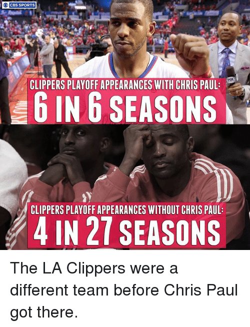 La Clippers: CBS SPORTS  CLIPPERS PLAYOFF APPEARANCES WITH CHRIS PAUL  6 IN 6 SEASONS  CLIPPERS PLAYOFF APPEARANCES WITHOUT CHRIS PAUL:  4 IN 27 SEASONS The LA Clippers were a different team before Chris Paul got there.
