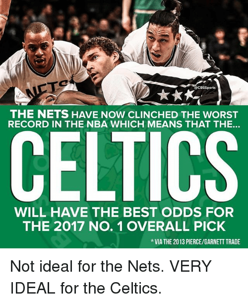 Celtics: CBS Sports  THE NETS HAVE NOW CLINCHED THE WORST  RECORD IN THE NBA WHICH MEANS THAT THE...  CELTICS  WILL HAVE THE BEST ODDS FOR  THE 2017 No. 1 OVERALL PICK  VIA THE 2013 PIERCE/GARNETT TRADE Not ideal for the Nets. VERY IDEAL for the Celtics.