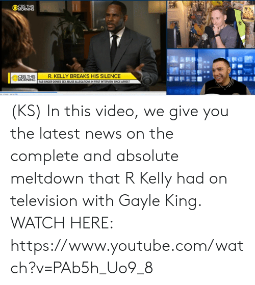 Gayle King: CBS THIS  R. KELLY BREAKS HIS SILENCE (KS) In this video, we give you the latest news on the complete and absolute meltdown that R Kelly had on television with Gayle King. WATCH HERE: https://www.youtube.com/watch?v=PAb5h_Uo9_8
