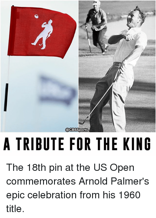 Memes, Palmer's Cocoa Butter Formula, and Cbssports: @CBSSports  A TRIBUTE FOR THE KING The 18th pin at the US Open commemorates Arnold Palmer's epic celebration from his 1960 title.