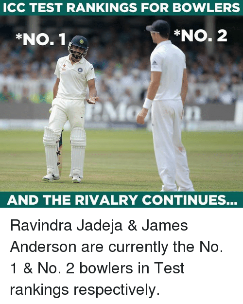 "Memes, Test, and 🤖: CC TEST RANKINGS FOR BOWLERS  ""No. 1 r  *NO. 2  AND THE RIVALRY CONTINUES... Ravindra Jadeja & James Anderson are currently the No. 1 & No. 2 bowlers in Test rankings respectively."