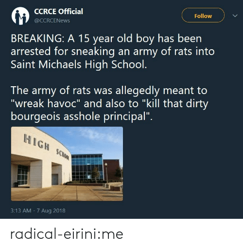 "Michaels: CCRCE Official  @CCRCENews  Follow  BREAKING: A 15 year old boy has been  arrested for sneaking an army of rats into  Saint Michaels High School.  The army of rats was allegedly meant to  ""wreak havoc"" and also to ""kill that dirty  bourgeois asshole principal"".  HIGH SCo  3:13 AM - 7 Aug 2018 radical-eirini:me"