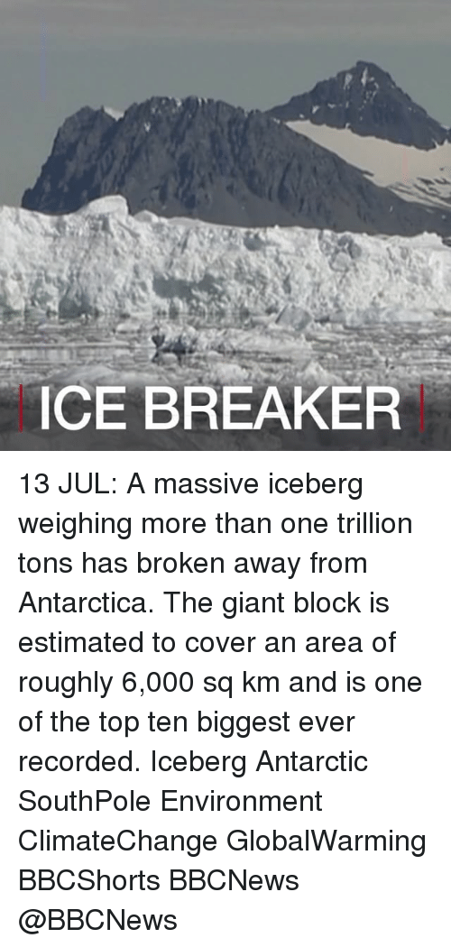 Climatechange: CE BREAKER 13 JUL: A massive iceberg weighing more than one trillion tons has broken away from Antarctica. The giant block is estimated to cover an area of roughly 6,000 sq km and is one of the top ten biggest ever recorded. Iceberg Antarctic SouthPole Environment ClimateChange GlobalWarming BBCShorts BBCNews @BBCNews