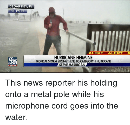 Facepalm, News, and Fox News: CEDAR KEY, FL  6:00 PM ET  FOX  NEWS  c h a  n n e I  ALERT  ALERT  A  HURRICANE HERMINE  TROPICAL STORM STRENGTHENS TO CATEGORY 1 HURRICANE  STEVE HARRIGAN This news reporter his holding onto a metal pole while his microphone cord goes into the water.