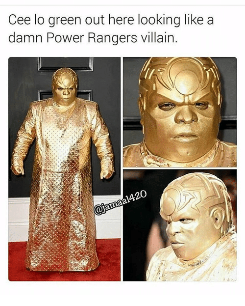 cee lo green: Cee lo green out here looking like a  damn Power Rangers villain.  420