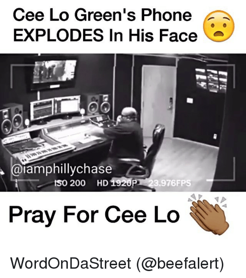 cee lo green: Cee Lo Green's Phone  EXPLODES In His Face  iamphillychase  tso 200 HD1920P  .976FPS  Pray For Cee Lo WordOnDaStreet (@beefalert)