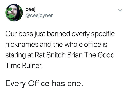 nicknames: ceej  @ceejoyner  Our boss just banned overly specific  nicknames and the whole office is  staring at Rat Snitch Brian The Good  Time Ruiner. Every Office has one.