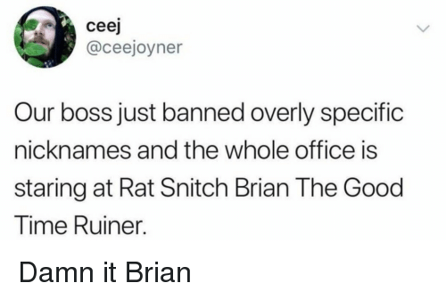 nicknames: ceej  @ceejoyner  Our boss just banned overly specific  nicknames and the whole office is  staring at Rat Snitch Brian The Good  Time Ruiner. Damn it Brian