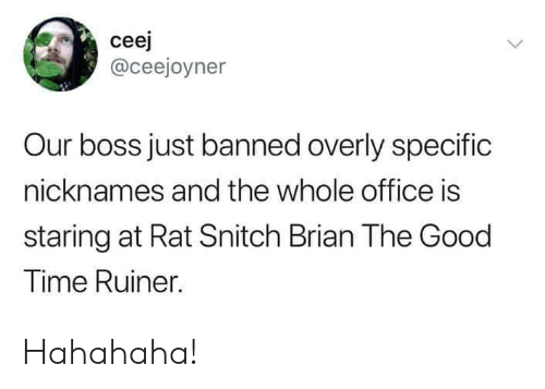 nicknames: ceej  @ceejoyner  Our boss just banned overly specific  nicknames and the whole office is  staring at Rat Snitch Brian The Good  Time Ruiner. Hahahaha!
