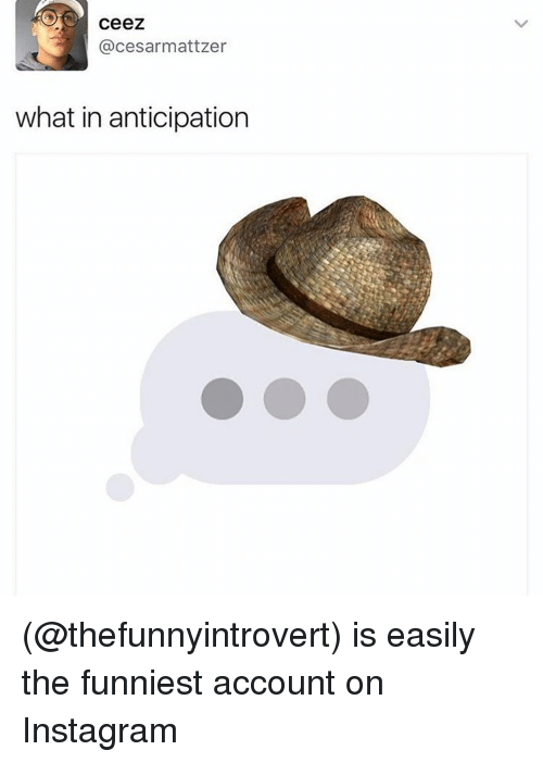 Memes, 🤖, and Account: Ceez  cesarmattzer  what in anticipation (@thefunnyintrovert) is easily the funniest account on Instagram