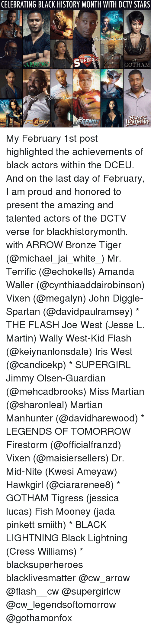Martin, Memes, and Arrow: CELEBRATING BLACK HISTORY MONTH WITH DCTV STARS  UPERGIRL  GOTHAM  LGHINING My February 1st post highlighted the achievements of black actors within the DCEU. And on the last day of February, I am proud and honored to present the amazing and talented actors of the DCTV verse for blackhistorymonth. with ARROW Bronze Tiger (@michael_jai_white_) Mr. Terrific (@echokells) Amanda Waller (@cynthiaaddairobinson) Vixen (@megalyn) John Diggle-Spartan (@davidpaulramsey) * THE FLASH Joe West (Jesse L. Martin) Wally West-Kid Flash (@keiynanlonsdale) Iris West (@candicekp) * SUPERGIRL Jimmy Olsen-Guardian (@mehcadbrooks) Miss Martian (@sharonleal) Martian Manhunter (@davidharewood) * LEGENDS OF TOMORROW Firestorm (@officialfranzd) Vixen (@maisiersellers) Dr. Mid-Nite (Kwesi Ameyaw) Hawkgirl (@ciararenee8) * GOTHAM Tigress (jessica lucas) Fish Mooney (jada pinkett smiith) * BLACK LIGHTNING Black Lightning (Cress Williams) * blacksuperheroes blacklivesmatter @cw_arrow @flash__cw @supergirlcw @cw_legendsoftomorrow @gothamonfox
