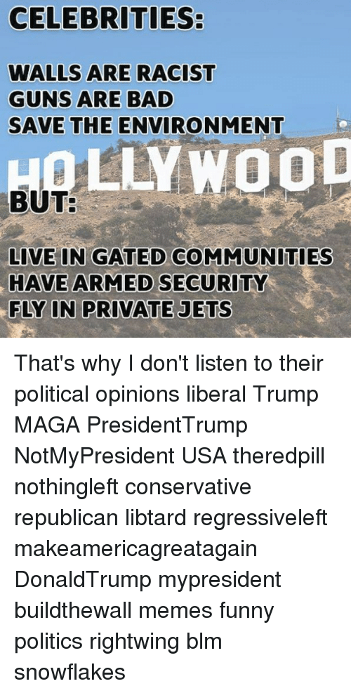 Bad, Funny, and Guns: CELEBRITIES:  WALLS ARE RACIST  GUNS ARE BAD  SAVE THE ENVIRONMENT  QLLYWOOD  BUT  LIVE IN GATED COMMUNITIES  HAVE ARMED SECURITY  FLY IN PRIVATE JETS That's why I don't listen to their political opinions liberal Trump MAGA PresidentTrump NotMyPresident USA theredpill nothingleft conservative republican libtard regressiveleft makeamericagreatagain DonaldTrump mypresident buildthewall memes funny politics rightwing blm snowflakes