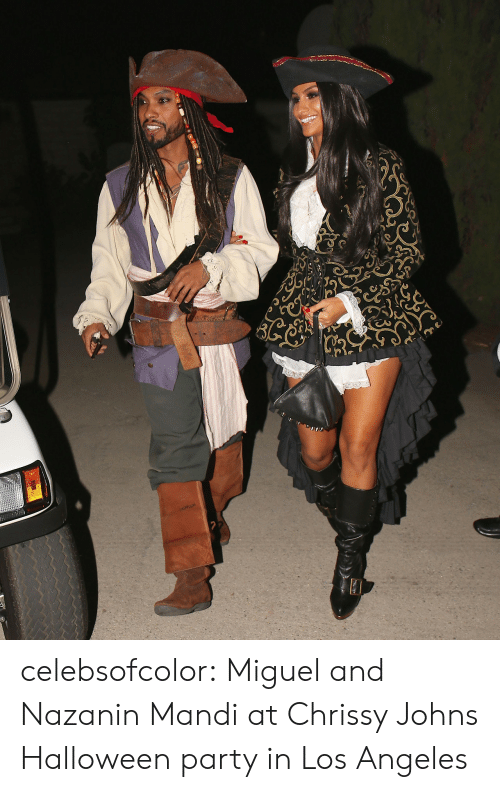 chrissy: celebsofcolor:  Miguel and Nazanin Mandi at Chrissy  Johns Halloween party in Los Angeles