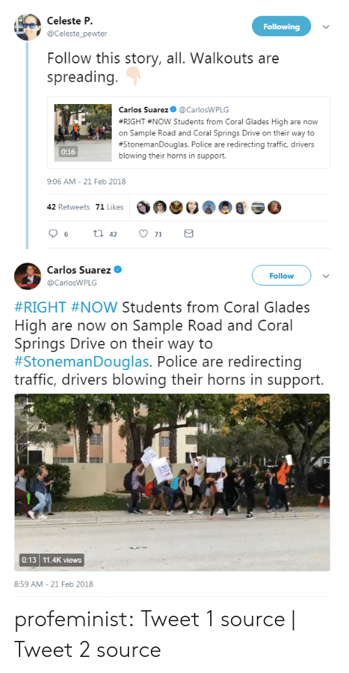 21 Feb: Celeste P.  Following  @Celeste_pewter  Follow this story, all. Walkouts are  spreading  Carlos Suarez@CarlosWPLG  #RIGHT #Now students from Coral Glades High are now  on Sample Road and Coral Springs Drive on their way to  #StonemanDouglas. Police are redirecting traffic, drivers  blowing their horns in support  0:16  9:06 AM-21 Feb 2018  42 Retweets 71 Likes  96ti 42 71   Carlos Suarez  @CarlosWPLG  Follow  #RIGHT #NOW Students from Coral Glades  High are now on Sample Road and Coral  Springs Drive on their way to  #stonemanDouglas. Police are redirecting  traffic, drivers blowing their horns in support.  0:13 11.4K views  8:59 AM-21 Feb 2018 profeminist:  Tweet 1 source   Tweet 2 source