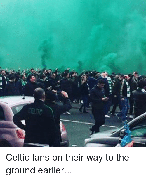 Celtics: Celtic fans on their way to the ground earlier...