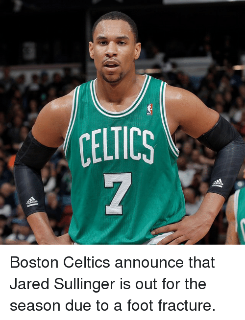 Celtic: CELTICS Boston Celtics announce that Jared Sullinger is out for the season due to a foot fracture.