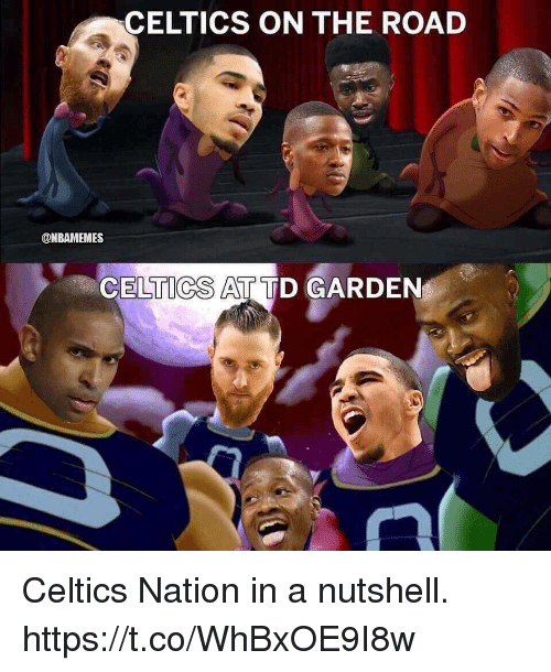 td garden: CELTICS ON THE ROAD  @NBAMEMES  CELTICS AT TD GARDEN Celtics Nation in a nutshell. https://t.co/WhBxOE9I8w