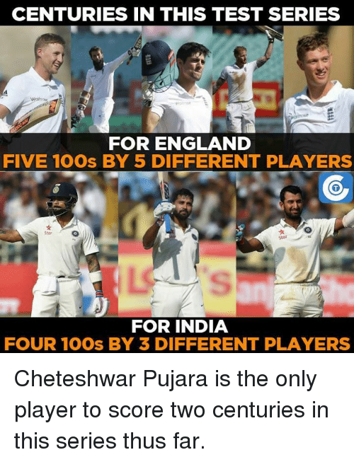 Cheteshwar Pujara: CENTURIES IN THIS TEST SERIES  FOR ENGLAND  FIVE 100s BY 5 DIFFERENT PLAYERS  FOR INDIA  FOUR 100s BY 3 DIFFERENT PLAYERS Cheteshwar Pujara is the only player to score two centuries in this series thus far.