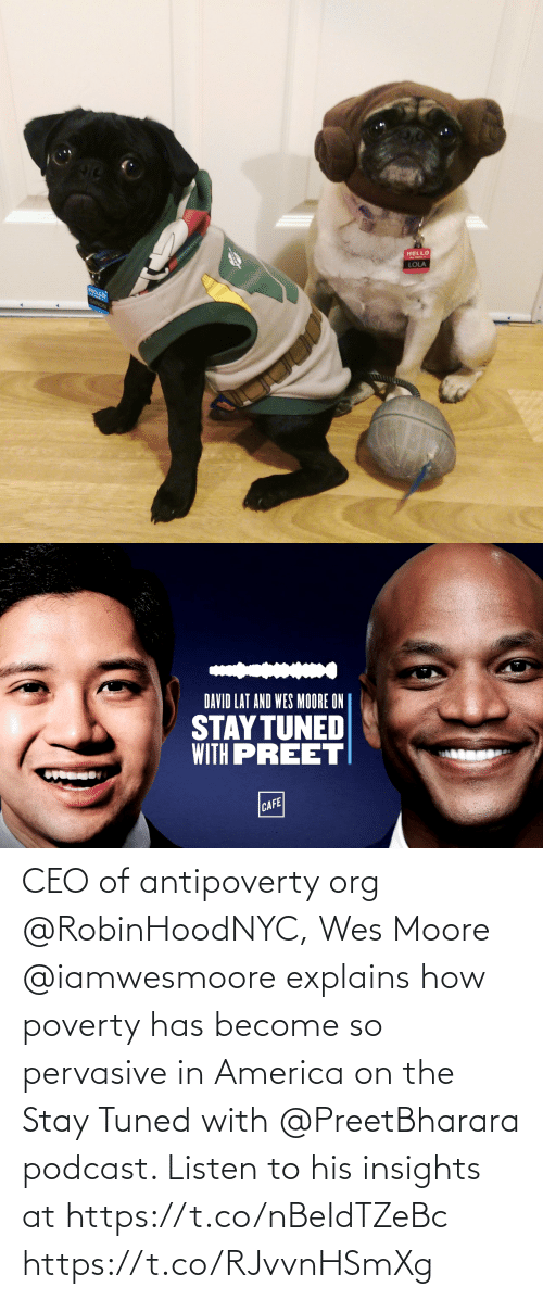 Wes: CEO of antipoverty org @RobinHoodNYC, Wes Moore @iamwesmoore explains how poverty has become so pervasive in America on the Stay Tuned with @PreetBharara podcast. Listen to his insights at https://t.co/nBeIdTZeBc https://t.co/RJvvnHSmXg
