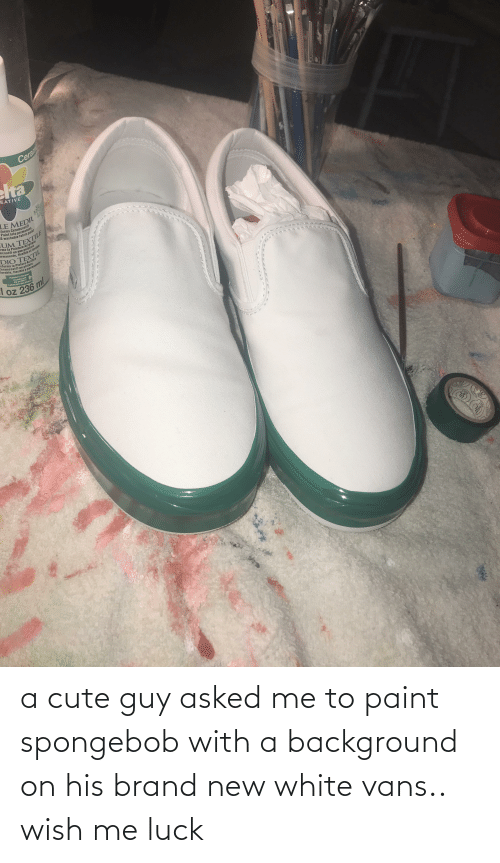 white vans: Ceram  elta  EATIVE  LE MEDIL  sforms Ceramcoat®  Paint into permanent,  & washable fabric paint  UM TEXTILE  rme la Pelnture Acrylique  mcoat® en une peintare  ermanente, flexible et lavablee  DIO TEXTIL  sforma la Pintura Acrilica  eramcoat@ en pintura  lavable, flexible y permanente  Painters Helper  L'assistant  du peintre  Aststente del Pintor  El oz 236 ml a cute guy asked me to paint spongebob with a background on his brand new white vans.. wish me luck