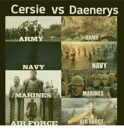 Memes, Air Force, and 🤖: Cersie vs Daenerys  A REMY  NAVY  NAVY  IGgaemofthrones  MARINES  MARINES  AIR FORCE