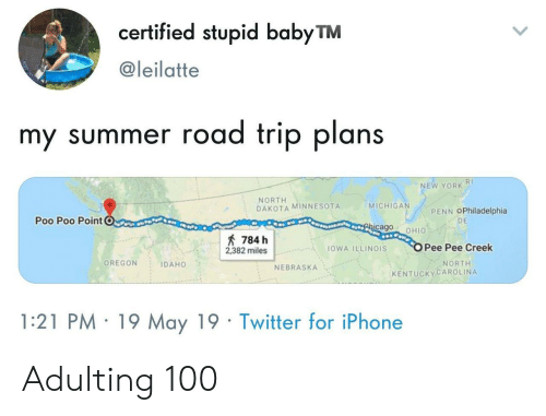 Nebraska: certified stupid babyTM  @leilatte  my summer road trip plans  RI  NEW YORK  NORTH  DAKOTA MINNESOTA  MICHIGA  PENN OPhiladelphia  Poo Poo PointC  DE  cago OHIO  784 h  2382 milesOWA ILLINOIS  Pee Pee Creek  OREGON IDAHO  NORTH  NEBRASKA  KENTUCKYCAROLINA  1:21 PM 19 May 19 Twitter for iPhone Adulting 100
