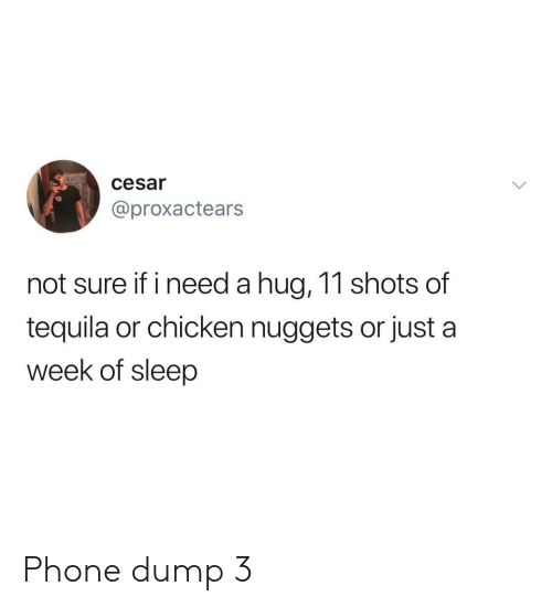 Tequila: cesar  @proxactears  not sure if i need a hug, 11 shots of  tequila or chicken nuggets or just a  week of sleep Phone dump 3