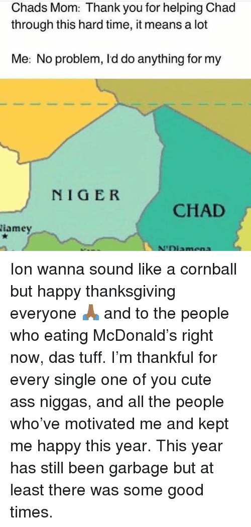 Chads: Chads Mom: Thank you for helping Chad  through this hard time, it means a lot  Me: No problem, Id do anything for my  NIGER  CHAD  iamey Ion wanna sound like a cornball but happy thanksgiving everyone 🙏🏾 and to the people who eating McDonald's right now, das tuff. I'm thankful for every single one of you cute ass niggas, and all the people who've motivated me and kept me happy this year. This year has still been garbage but at least there was some good times.