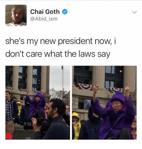 Memes, Goths, and 🤖: Chai Goth  @Abid ism  she's my new president now, i  don't care what the laws say