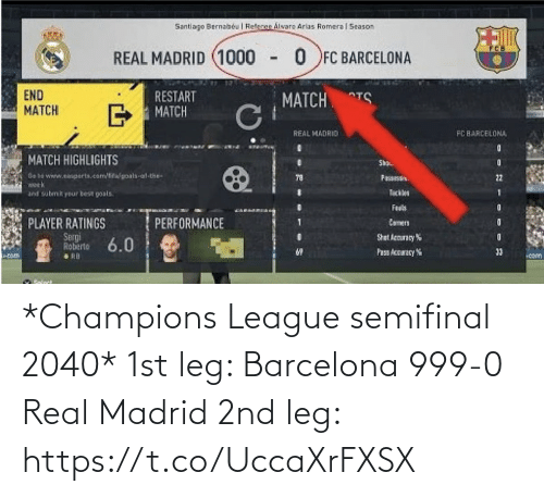 Barcelona: *Champions League semifinal 2040*  1st leg:  Barcelona 999-0 Real Madrid  2nd leg: https://t.co/UccaXrFXSX