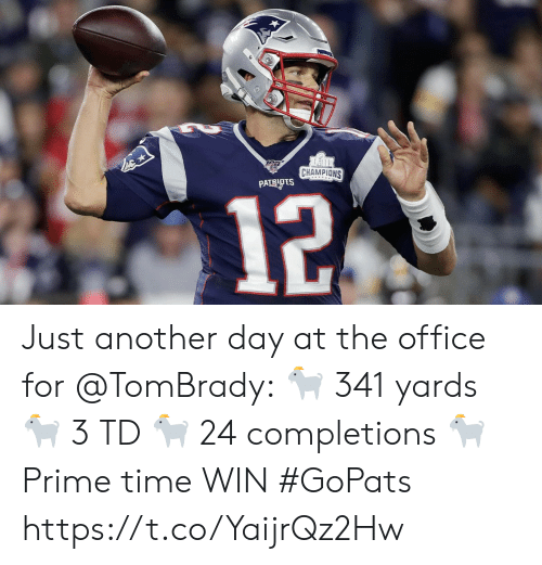 Another Day: CHAMPIONS  PATRIOTS  12 Just another day at the office for @TomBrady: 🐐 341 yards 🐐 3 TD 🐐 24 completions 🐐 Prime time WIN #GoPats https://t.co/YaijrQz2Hw