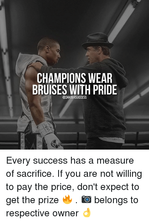 Memes, Success, and 🤖: CHAMPIONS WEAR  BRUISES WITH PRIDE  @24HOURSUCCESS Every success has a measure of sacrifice. If you are not willing to pay the price, don't expect to get the prize 🔥 . 📷 belongs to respective owner 👌