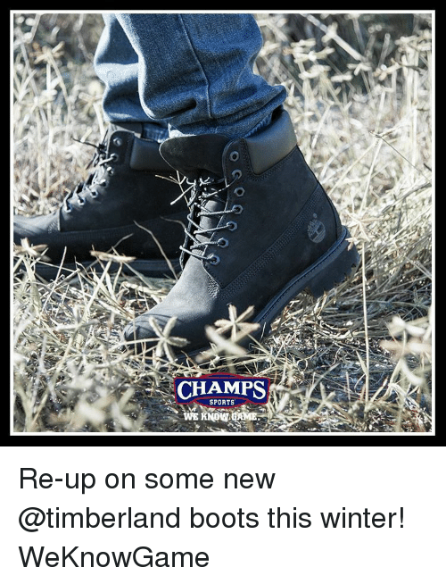 Memes, Sports, and Timberland: CHAMPS  SPORTS Re-up on some new @timberland boots this winter! WeKnowGame