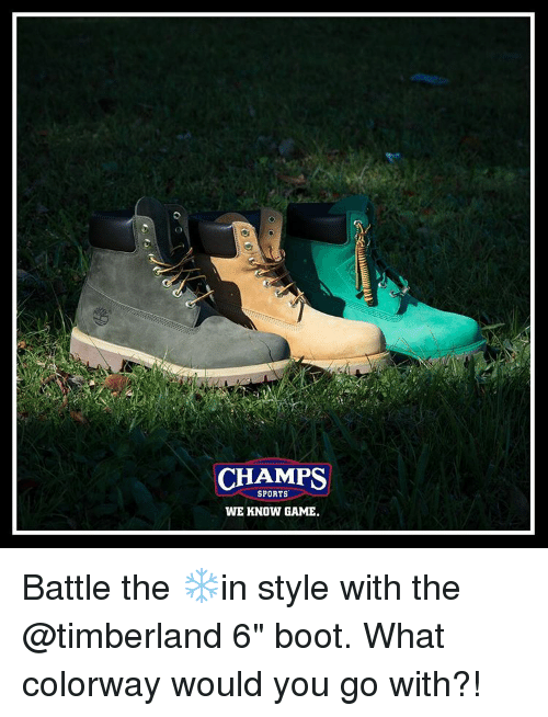 """Memes, Timberland, and Boots: CHAMPS  SPORTS  WE KNOW GAME. Battle the ❄️in style with the @timberland 6"""" boot. What colorway would you go with?!"""