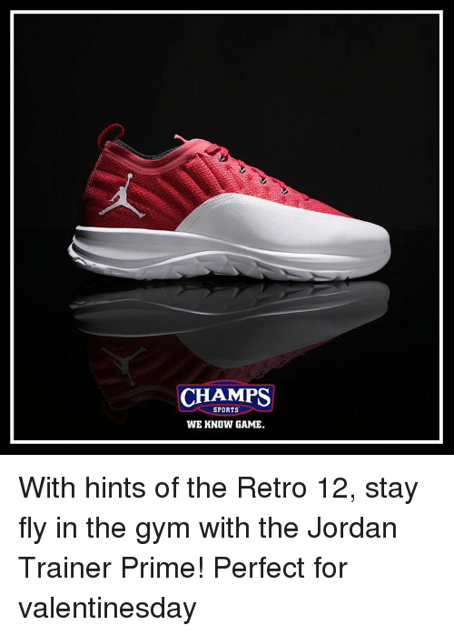Memes, 🤖, and Champs Sports: CHAMPS  SPORTS  WE KNOW GAME. With hints of the Retro 12, stay fly in the gym with the Jordan Trainer Prime! Perfect for valentinesday