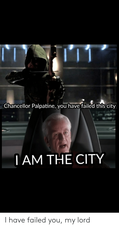 You Have Failed This City: Chancellor Palpatine, you have failed this city  TAM THE CITY I have failed you, my lord