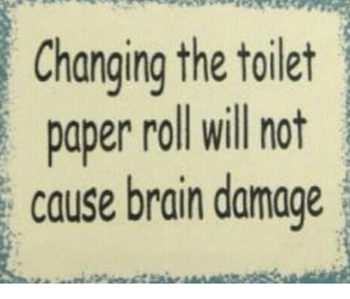 Changing The Toilet Paper Roll: Changing the toilet  paper roll will not  cause brain damage