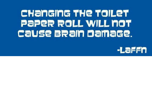 Changing The Toilet Paper Roll: CHanGING THe TOILeT  PaPeR ROLL WILL nOT  cause BRaln DamaGe.  LaFFn