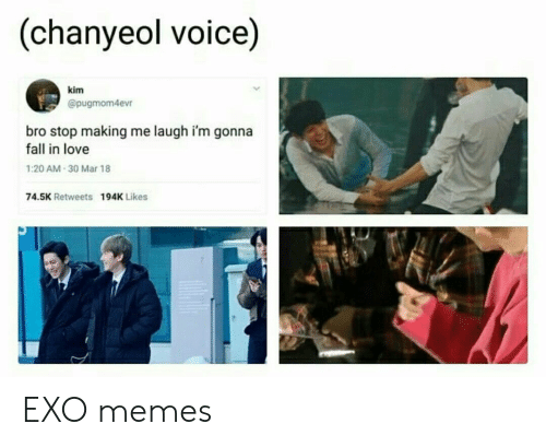 Chanyeol: (chanyeol voice)  kim  @pugmom4evr  bro stop making me laugh i'm gonna  fall in love  1:20 AM 30 Mar 18  74.5K Retweets  194K Likes EXO memes